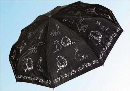 Зонт С012 коты жирные черные  купить